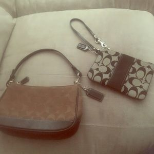 New Authentic Coach Demi bag & black wristlet